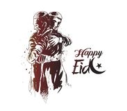 Muslim man hugging and wishing to each other on occasion of Eid. Celebration, Hand Drawn Sketch Vector illustration Royalty Free Stock Images