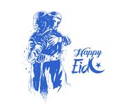Muslim man hugging and wishing to each other on occasion of Eid. Celebration, Hand Drawn Sketch Vector illustration Royalty Free Stock Photo
