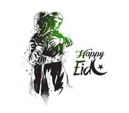 Muslim man hugging and wishing to each other on occasion of Eid. Celebration, Hand Drawn Sketch Vector illustration Royalty Free Stock Image