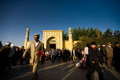 Muslim man leaving mosque royalty free stock image
