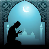 Muslim man praying islamic illustration Royalty Free Stock Images