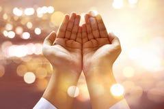 Muslim man praying. To god stock image