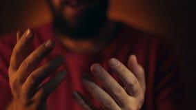 Muslim man praying to god. stock video