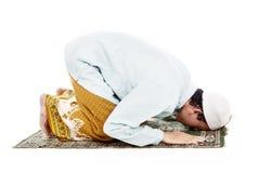 Muslim man prostrating in praying. Portrait of asian muslim man praying on mat. shot in studio isolated on white Royalty Free Stock Photography