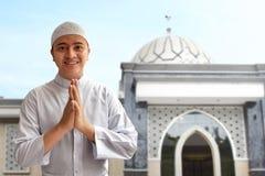 Muslim man smiling. And greeting Royalty Free Stock Photos
