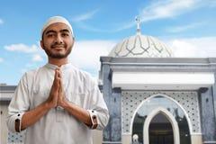 Muslim man smile and greeting. Muslim man smiling and greeting Stock Photos