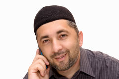 Muslim man talking over mobile royalty free stock images