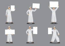 Muslim Man in Tradition Costume Holding Blank Placard Vector Car Stock Images