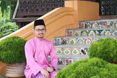 A muslim man with traditional baju melayu Stock Images