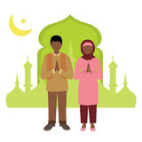 Muslim man and woman celebrating Ramadan. Vector illustration of muslim man and woman celebrating Ramadan Stock Illustration