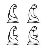 Muslim man and woman making a supplication. Islamic prayer icons Stock Photos