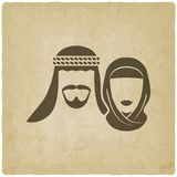 Muslim man and woman old background. Vector illustration. eps 10 royalty free illustration