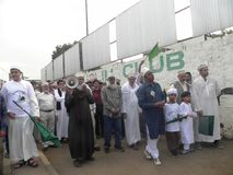 Muslim march in  Nairobi streets. Kenya. This happens during a festive holidays such as Eed, Milad un Nabbi Stock Images