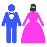 Muslim Marriage Couple Flat Icon stock illustration