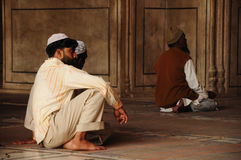 Muslim men pray in the mosque, India Royalty Free Stock Image