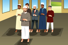 Muslim Men Praying in Mosque. A vector illustration of Muslim Men Praying in Mosque Royalty Free Stock Images