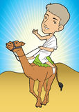 Muslim men riding a camel. Muslim wearing white clothes and riding a camel Stock Photos
