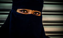 Muslim model with black veil and black dress Royalty Free Stock Image