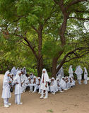 Muslim moslem school kids with headscain Sri Lanka. Muslim moslem school kids with headscarf and school-uniform in Sri Lanka resting in the shadow from a big Royalty Free Stock Images