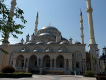 Muslim mosque. City Grozniy. The capital is Chechnya. View of the mosque from the east stock photos