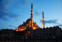 Muslim mosque in Istanbul in the evening. We see t. Wo minarets. Mosque, the Muslim shrine, Istanbul, city, night, architecture, minarets, landscape, urban Stock Photo