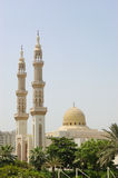 Muslim mosque, Sharjah, United Arab Emirates. Muslim mosque in clear summer day, Sharjah, United Arab Emirates stock photos