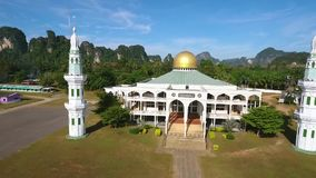 Muslim Mosque during Sunrise in Thailand. HD Aerial view. stock video