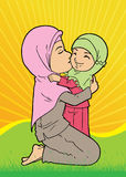 Muslim mother and daughter sharing love. Muslim mother and daughter in head scarf sharing love together royalty free illustration