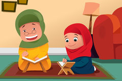 Muslim Mother and Daughter Studying Quran at Home. A vector illustration of Muslim Mother and Daughter Studying Quran at Home Royalty Free Stock Photography