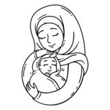 Muslim mother holding baby royalty free illustration