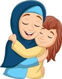 Muslim mother hugging her daughter. Illustration of Muslim mother hugging her daughter stock illustration