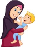 Muslim mother hugging her son stock illustration