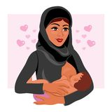 Muslim mother in national costume holding her newborn baby child in her arms breastfeeding Vector Illustration