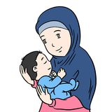 Muslim Mother and Son isolated Cartoon -Vector Illustration. Muslim Mother and Son Cartoon, Isolated on white background - Vector Illustration Royalty Free Stock Images