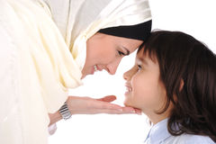 Muslim mother and son loving