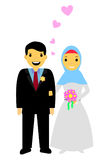 Muslim and muslimah bride couple, isolated on white