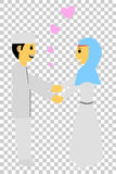 Muslim and muslimah bride couple, at transparent effect background. Vector muslim and muslimah bride couple, at transparent effect background royalty free illustration