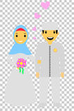 Muslim and muslimah bride couple, at transparent effect background. Vector muslim and muslimah bride couple, at transparent effect background stock illustration