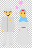 Muslim and muslimah bride couple, at transparent effect background. Vector muslim and muslimah bride couple, at transparent effect background vector illustration