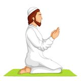 Muslim offering Namaaz. Vector illustration of muslim offering namaaz on Eid royalty free illustration