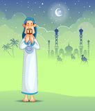 Muslim offering namaaz on Eid. In vector stock illustration