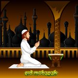 Muslim offering namaaz for Eid. Vector illustration of muslim offering namaaz for Eid stock illustration