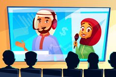Muslim online conference vector cartoon illustration vector illustration