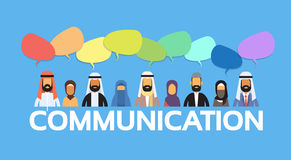 Muslim People Arab Crowd Man and Woman Talking Discussing Chat Bubble Communication Social Network. Arabic Indian Characters Flat Vector Illustration vector illustration