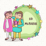Muslim people celebrating Eid Mubarak festival. Royalty Free Stock Photography