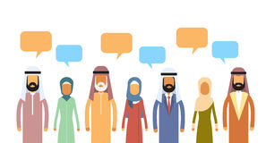 Muslim People Crowd Man and Woman Talking Discussing Chat Bubble Communication Social Network Stock Images