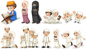 Muslim people in different actions Stock Images