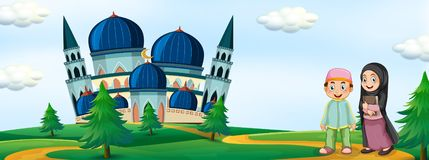 Muslim people in front of mosque vector illustration