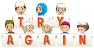 Muslim people holding sign for try again. Illustration Royalty Free Stock Photography