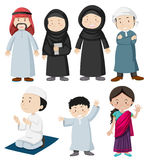 Muslim people in traditional costume. Illustration Stock Photos